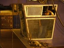 Führer einer Containerbrücke